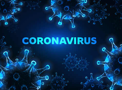 coronavirus cell under a microscope